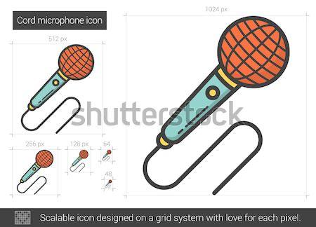 Rádió mikrofon vonal ikon vektor izolált Stock fotó © RAStudio