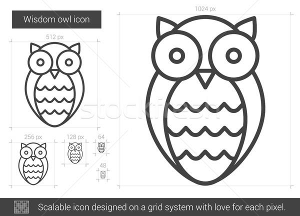 Bilgelik baykuş hat ikon vektör yalıtılmış Stok fotoğraf © RAStudio