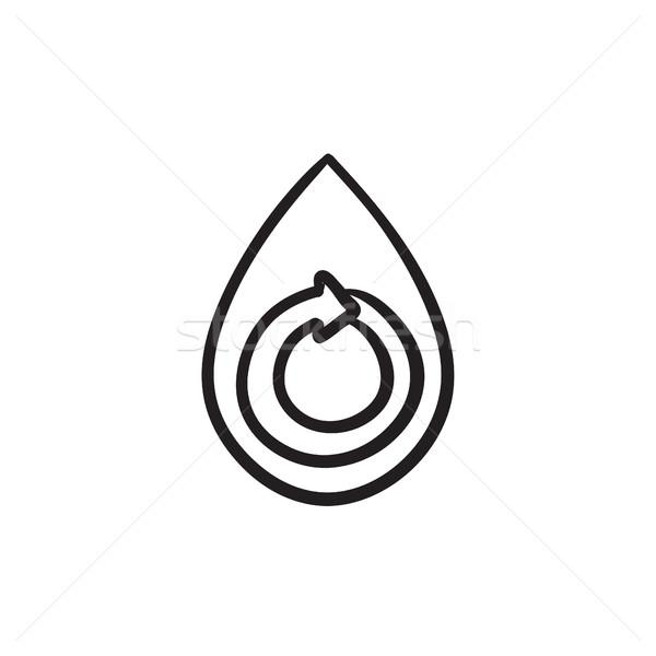 Water drop with circular arrow sketch icon. Stock photo © RAStudio