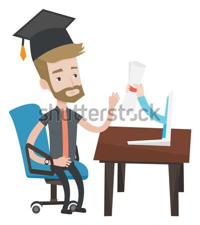 Diplomás diploma számítógép diák érettségi sapka Stock fotó © RAStudio