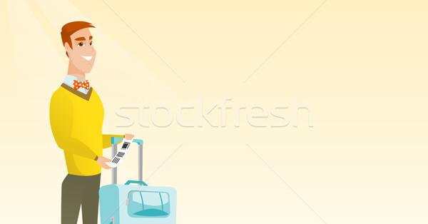 Caucásico empresario equipaje etiqueta feliz Foto stock © RAStudio