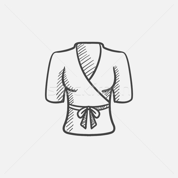 Short female bathrobe sketch icon. Stock photo © RAStudio