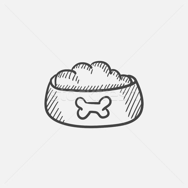 Psa puchar żywności szkic ikona Zdjęcia stock © RAStudio