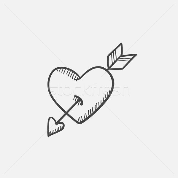 Heart pierced with arrow sketch icon. Stock photo © RAStudio