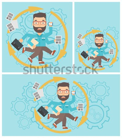 Stock photo: Businessman coping with multitasking.