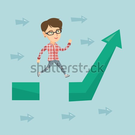 Business woman jumping over gap on arrow going up. Stock photo © RAStudio