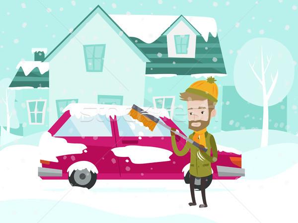 Zdjęcia stock: Młodych · biały · człowiek · czyszczenia · samochodu · śniegu