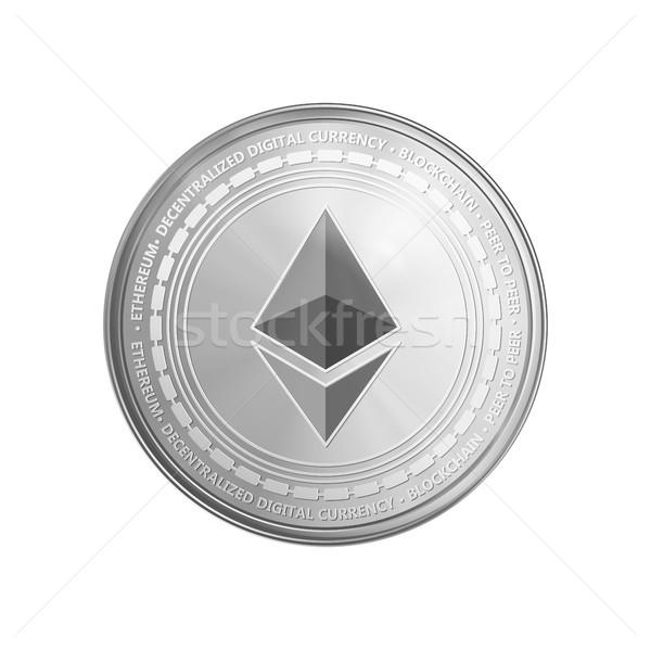 Silver ethereum coin symbol. Stock photo © RAStudio