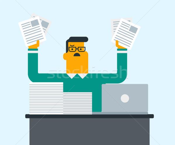 Rozpacz kierownik pracy biuro młodych Zdjęcia stock © RAStudio