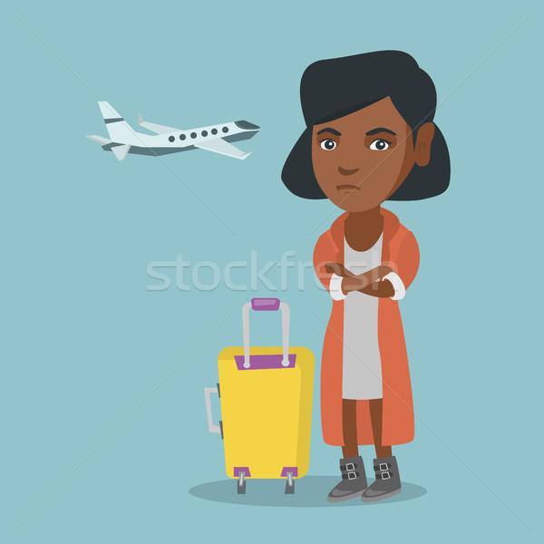 Afrikai nő szenvedés félelem repülés fiatal Stock fotó © RAStudio
