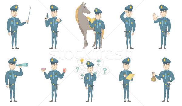 Fiatal kaukázusi rendőr vektor illusztrációk szett Stock fotó © RAStudio