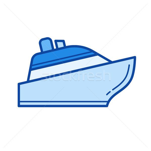 Cruiseschip lijn icon geïsoleerd witte Stockfoto © RAStudio