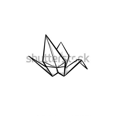 Origami crane hand drawn sketch icon. Stock photo © RAStudio