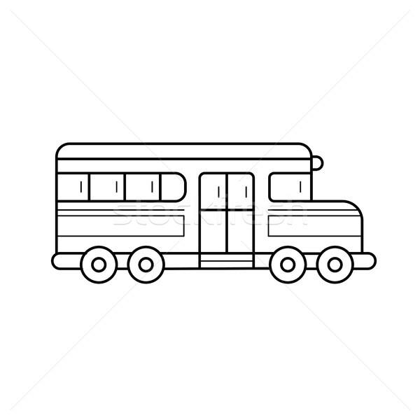 Okul otobüsü vektör hat ikon yalıtılmış beyaz Stok fotoğraf © RAStudio