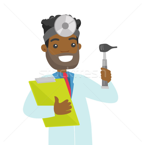 Young african-american otolaryngologist doctor. Stock photo © RAStudio