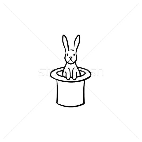 Nyúl bűvész kalap kézzel rajzolt rajz ikon Stock fotó © RAStudio