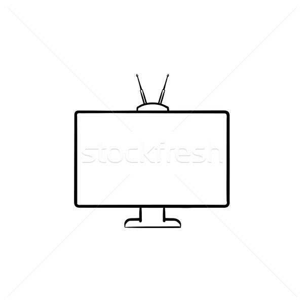 TV set hand drawn outline doodle icon. Stock photo © RAStudio