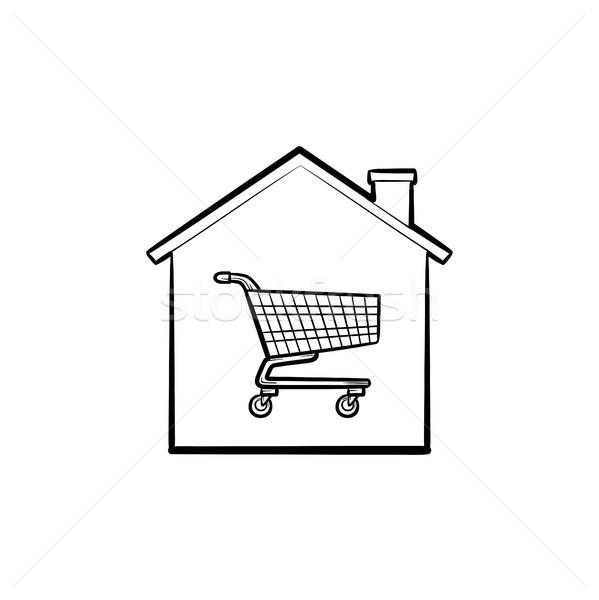 House shopping cart hand drawn outline doodle icon. Stock photo © RAStudio