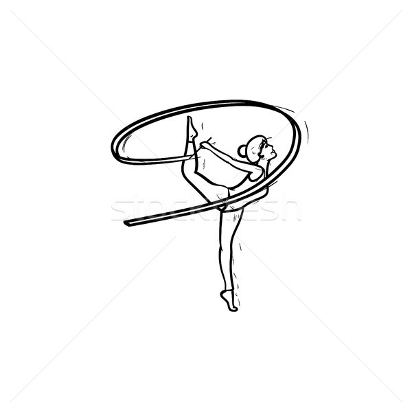 Stock photo: Young gymnast woman with ribbon hand drawn outline doodle icon.