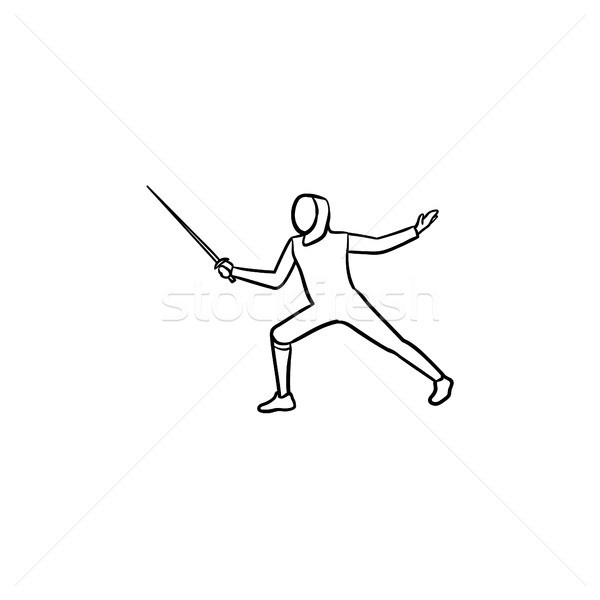 Stock photo: Fencing hand drawn outline doodle icon.