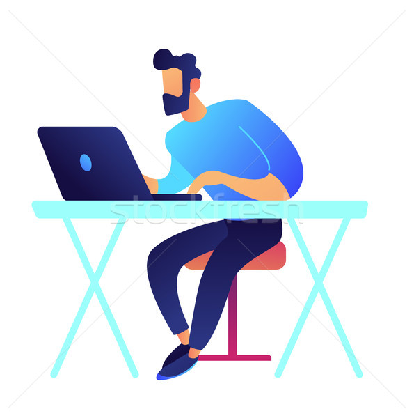 Gamer with laptop sitting at desk vector illustration. Stock photo © RAStudio