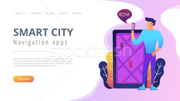 Ville navigation applications puce illustration homme Photo stock © RAStudio