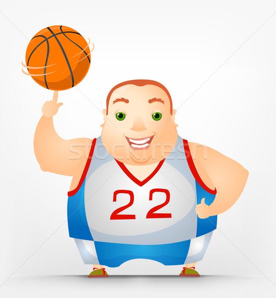 ぽってり 男 バスケットボール 楽しい 脂肪 ストックフォト © RAStudio