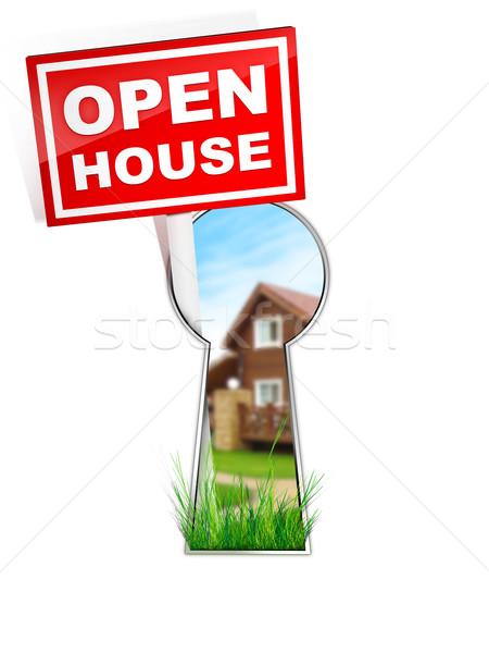 Sign - Open House Stock photo © RAStudio