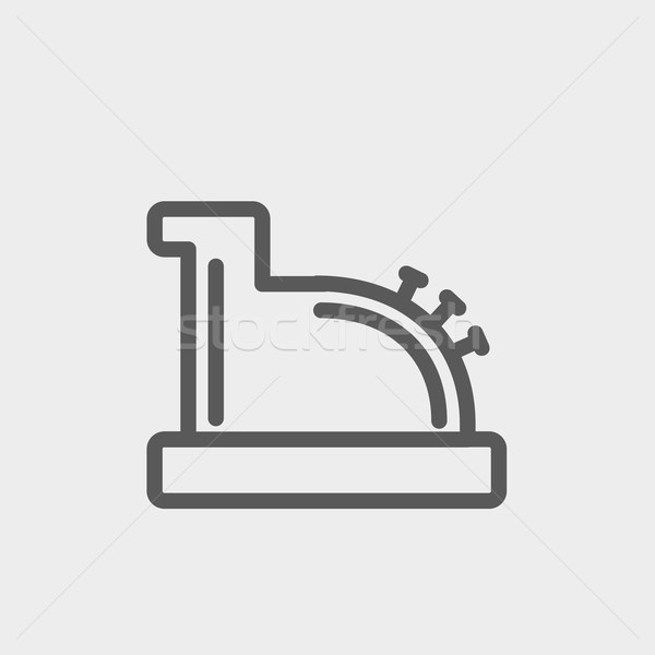 Stock photo: Antique cash register thin line icon