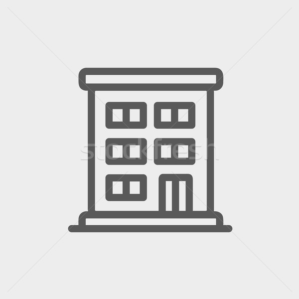 Residential building thin line icon Stock photo © RAStudio
