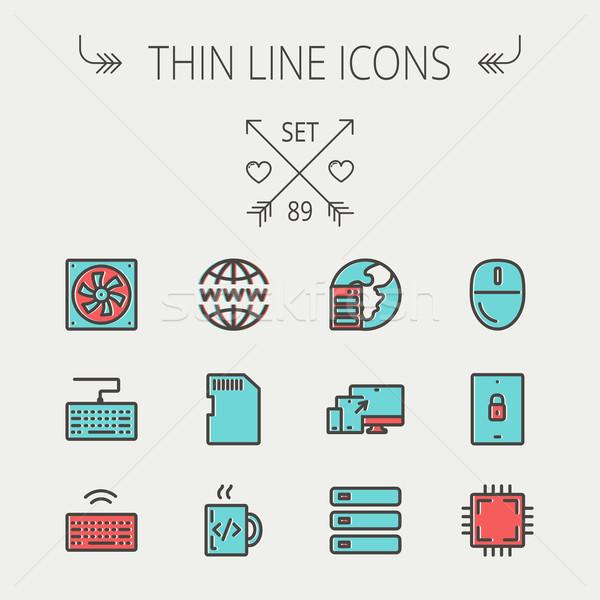 Technology thin line icon set Stock photo © RAStudio
