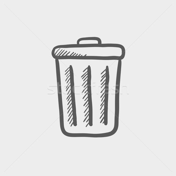 мусорное ведро эскиз икона веб мобильных рисованной Сток-фото © RAStudio