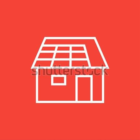 Huis dun lijn icon web mobiele Stockfoto © RAStudio