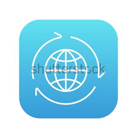 Tierra diseno delgado línea icono web Foto stock © RAStudio