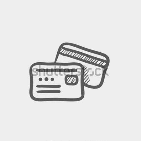 Wallet with money and credit card sketch icon Stock photo © RAStudio