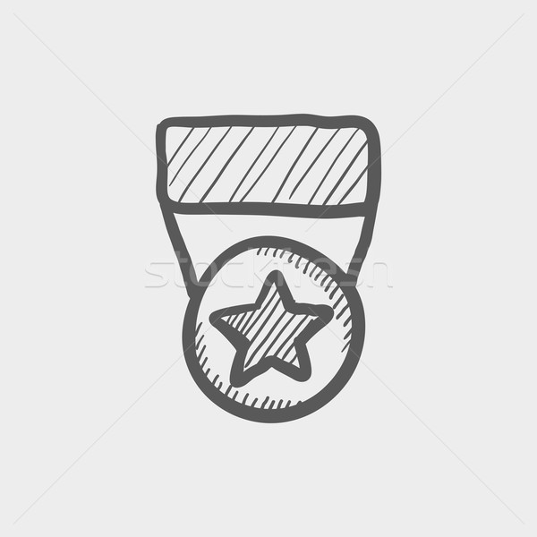 One star medal sketch icon Stock photo © RAStudio