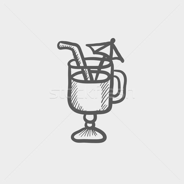 Cold ice tea with strw sketch icon Stock photo © RAStudio