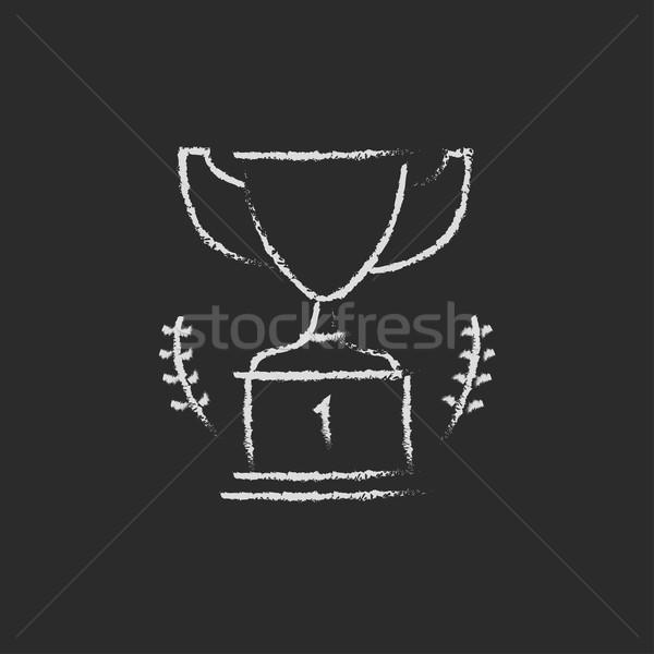 Trofeum ikona kredy tablicy Zdjęcia stock © RAStudio