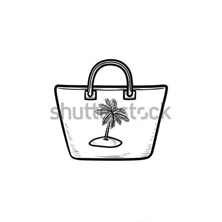 Beach bag icon drawn in chalk. Stock photo © RAStudio