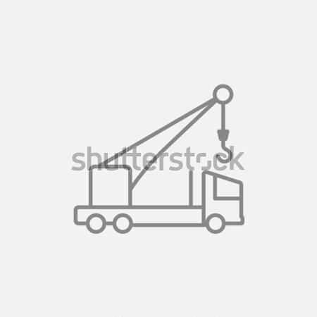 Zdjęcia stock: Komórkowych · Żuraw · line · ikona · internetowych · infografiki