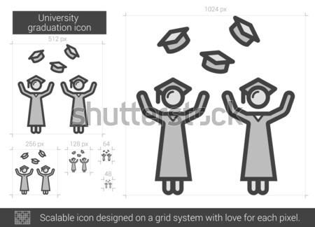 Graduates throwing caps line icon. Stock photo © RAStudio