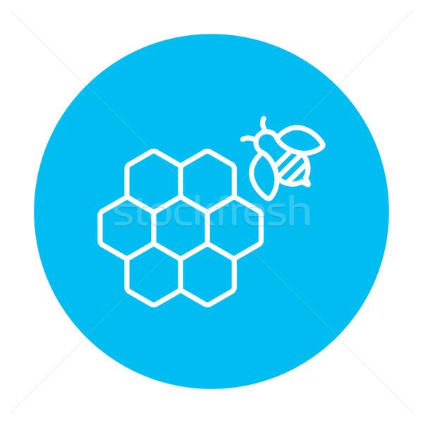 Méhsejt méh vonal ikon háló mobil Stock fotó © RAStudio