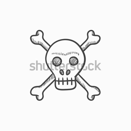череп крест костях линия икона веб Сток-фото © RAStudio