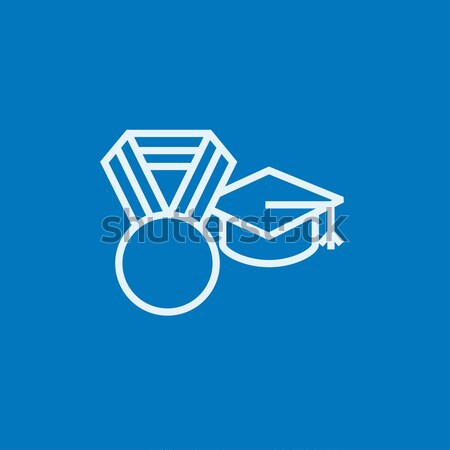 Stock photo: Graduation cap with medal line icon.