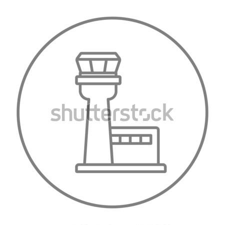 Lotu kontroli wieża line ikona internetowych Zdjęcia stock © RAStudio