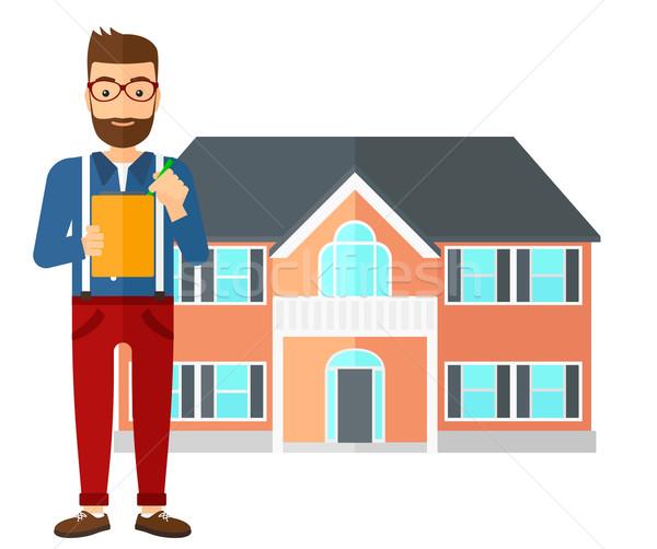 Agente immobiliare firma contratto documenti casa vettore Foto d'archivio © RAStudio