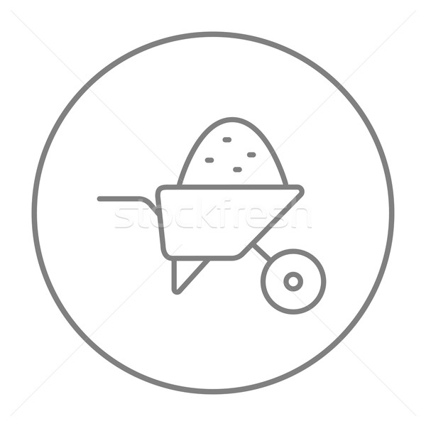 Kruiwagen vol zand lijn icon web Stockfoto © RAStudio