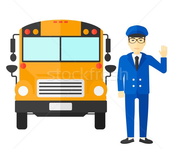 школьный автобус драйвера азиатских Постоянный вектора дизайна Сток-фото © RAStudio