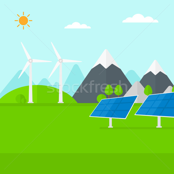 Stock photo: Background of solar panels and wind turbines in mountains.