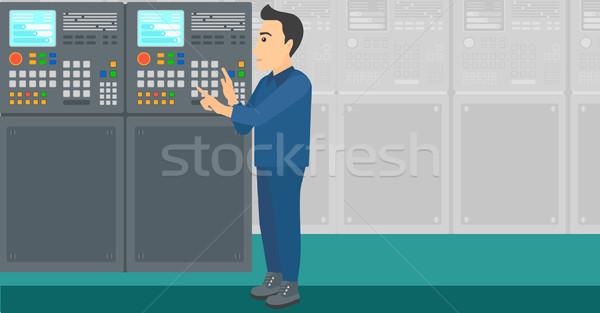 エンジニア 立って コントロールパネル 男 作業 工場 ストックフォト © RAStudio